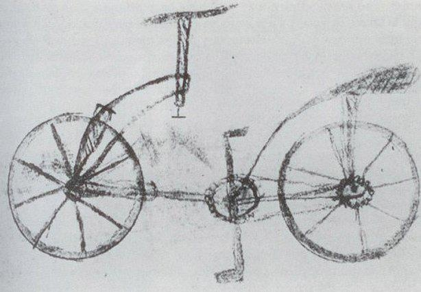 Da Vinci's first bike sketch