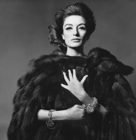 anouk aimee wearing sable coat by bert stern 1960s