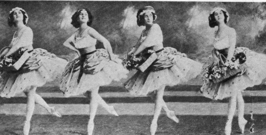 Anna_Pavlova_as_Lise_with_Coryphees_-la fille mal gardee 1912