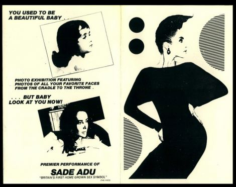 Flyer do primeiro show americano de Sade no Danceteria