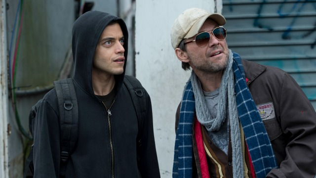 Rami Male e Christian Slater em 'Mr. Robot""