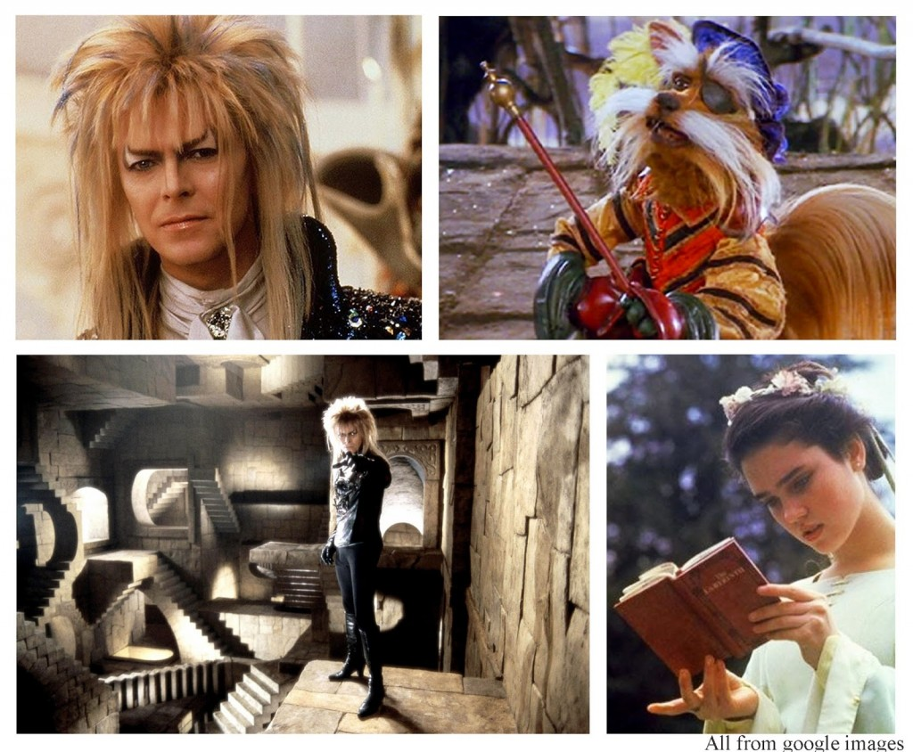 Labyrinth David Bowie the Goblin King, Sarah, Sir Didymus copy