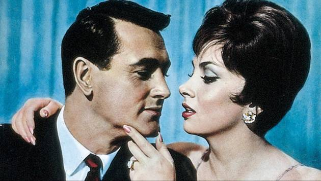 "Gina e Rock Hudson em 'Come September""."